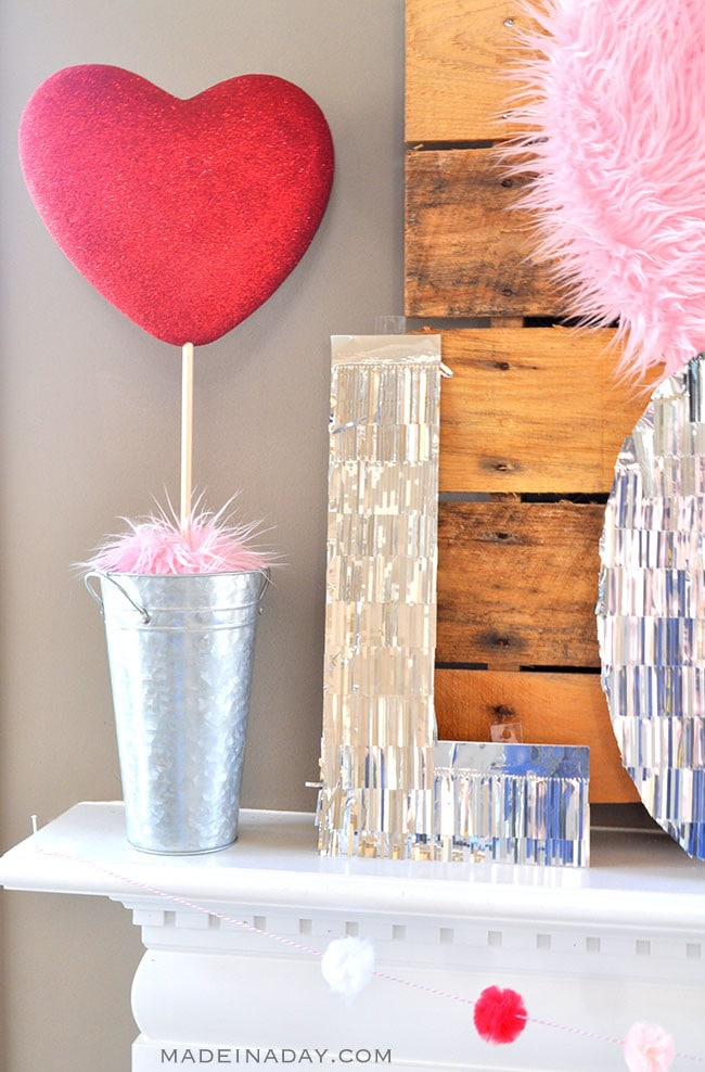 Valentine Heart + Faux Fur Topiaries Mantle Decor 6
