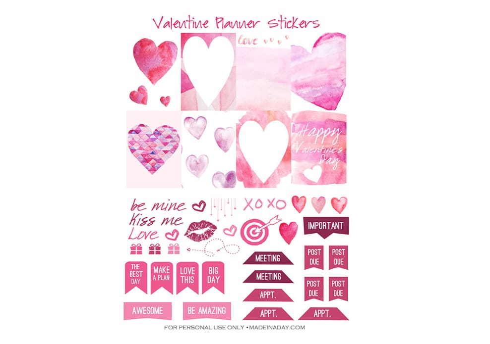 valentine heart planner stickers