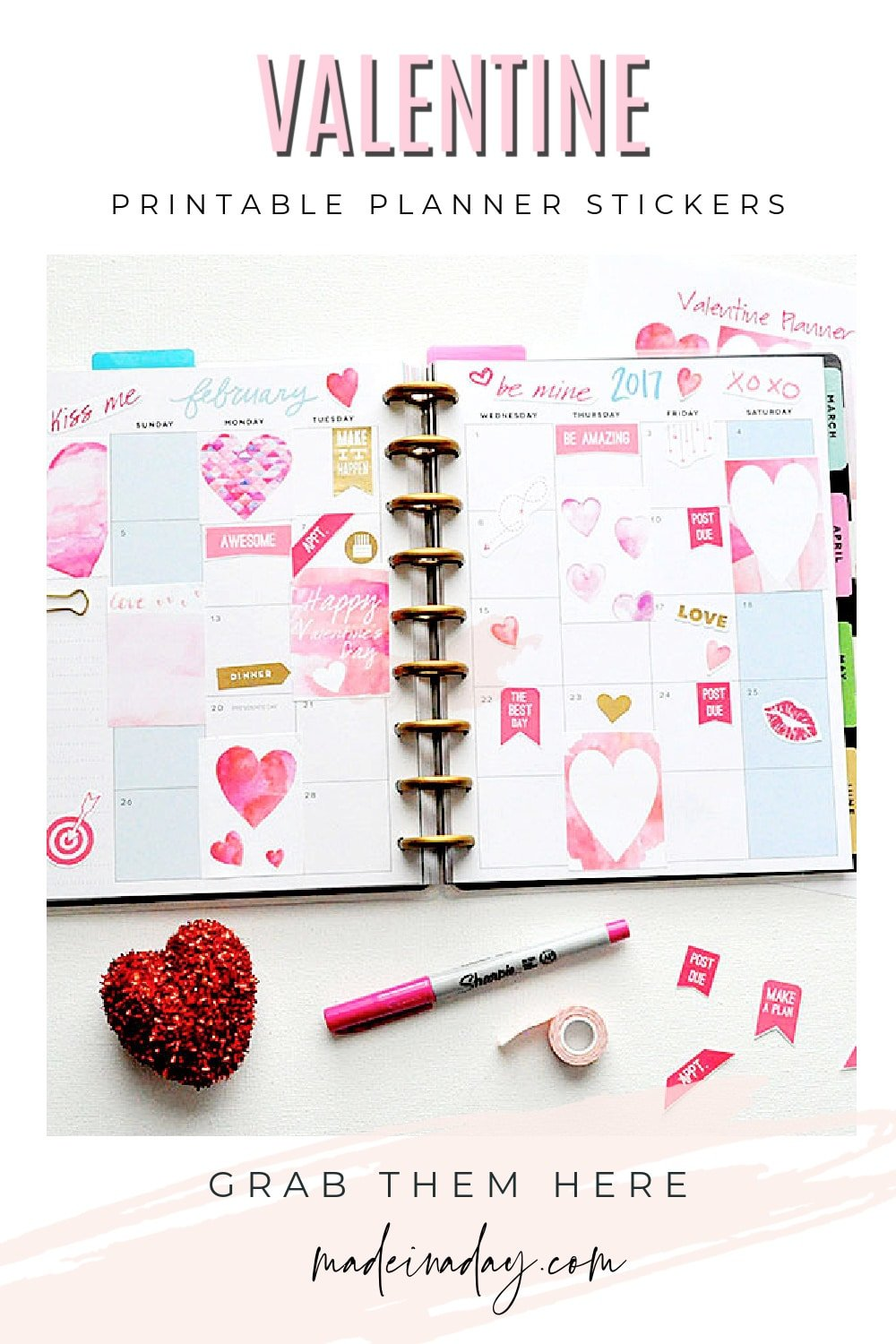 Watercolor Valentine Printable Planner Stickers