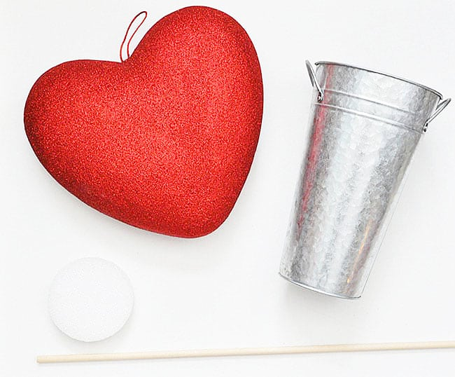 heart, bucket, foam and wood dowel