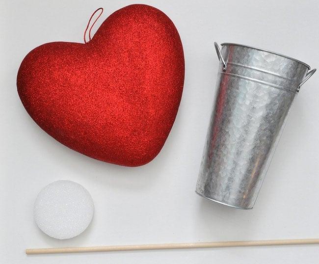 Valentine Heart + Faux Fur Topiaries Mantle Decor 32