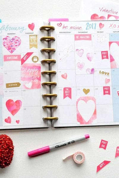 February Watercolor Valentine FREE Printable Planner Stickers
