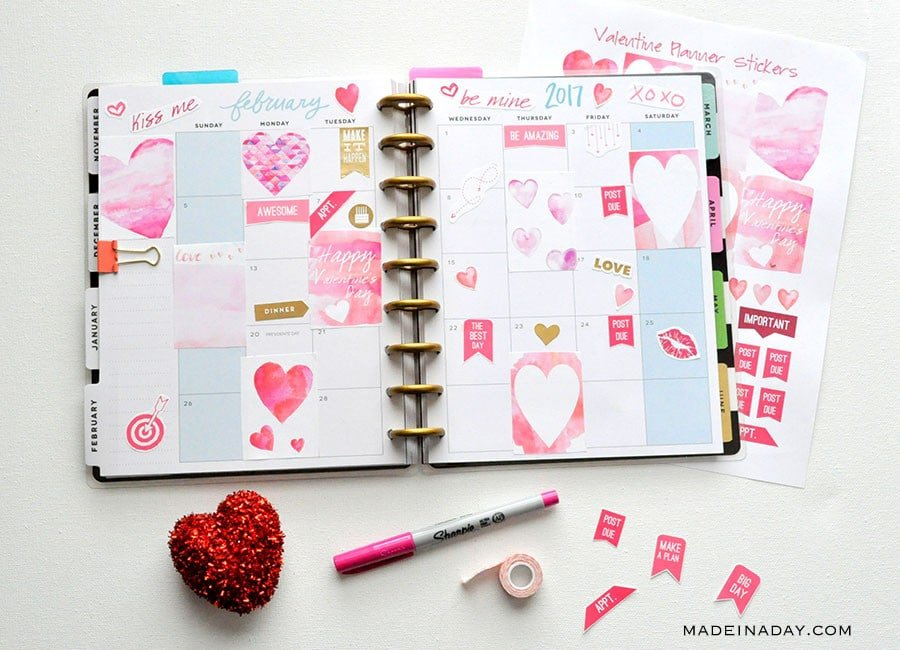 February Watercolor Valentine Printable Planner Stickers