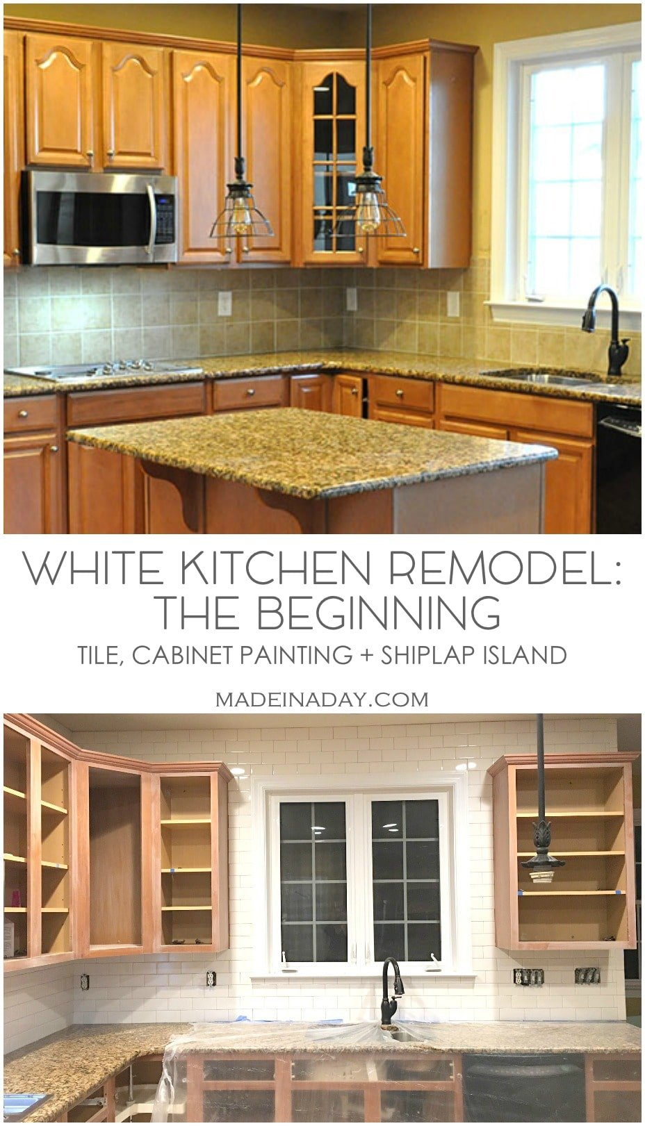 White Kitchen Remodel: The Beginning Stage, Out with the old in with the new! Subway tile above cabinets, painted cabinets shiplap island.