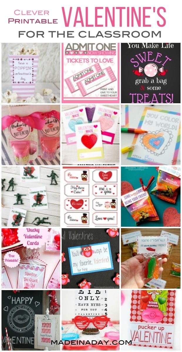 Free Printable Classroom Valentines,15+ Super cute & clever Free Printable Valentines for last minute moms.
