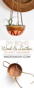 DIY Wood Leather Plant Hanger 1