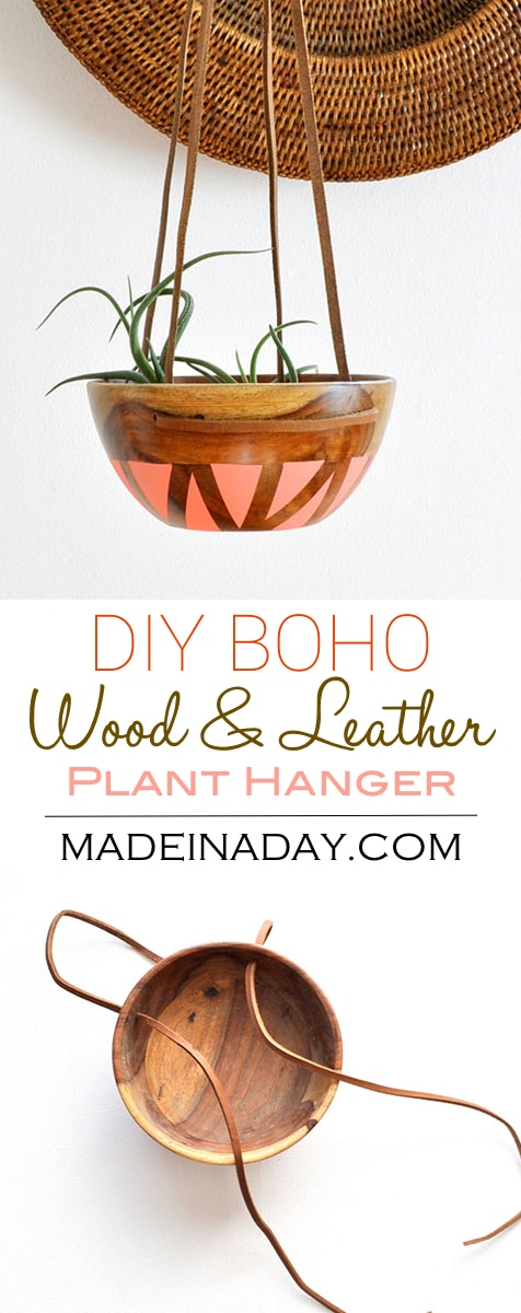 DIY Wood Leather Plant Hanger | Made in a Day