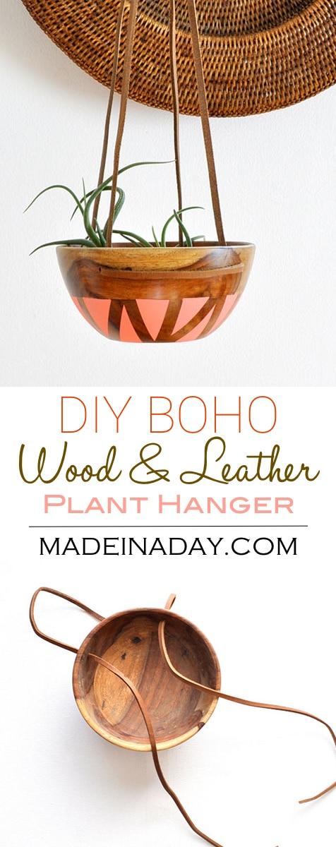 DIY #Wood #Leather Plant Hanger, painted wood bowl, leather strap wood bowl plant #hanger, bohemian home decor pink blush melon plant hanger, #boho