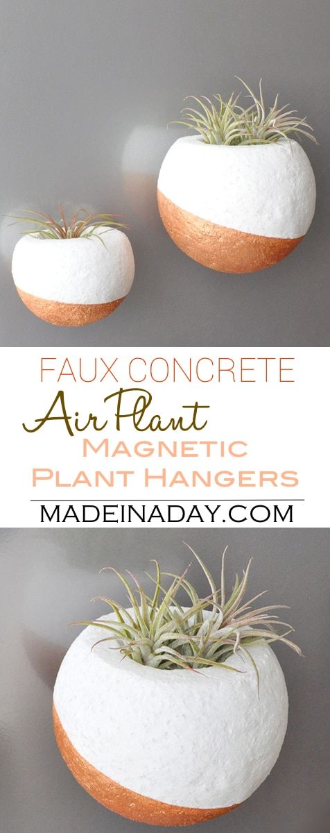 Faux Concrete Magnetic Air Plant Hanger, air plant orb, magnetic orb, copper planter, round planter, concrete made from foam, air plant hold