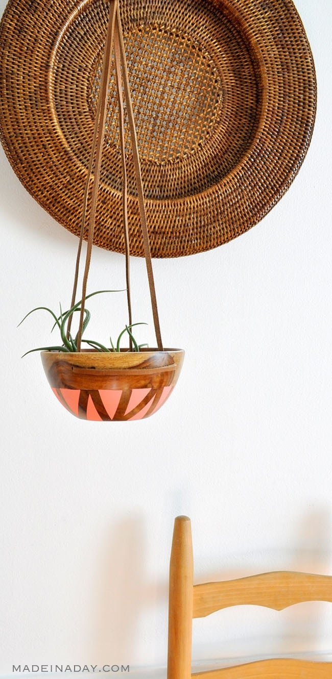 DIY Wood Leather Plant Hanger