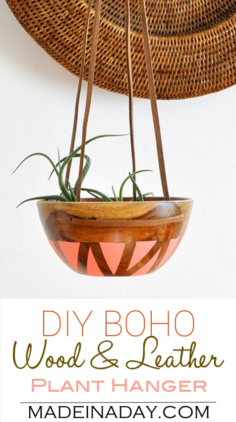 DIY Wood Leather Plant Hanger   Made in a Day