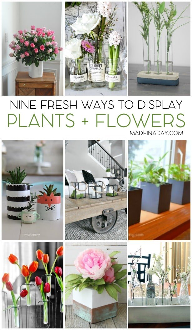 Fresh Ways to Display Plants + Flowers, herb garden, cement planter, tulips, spring, copper, patina, bud vases, printables