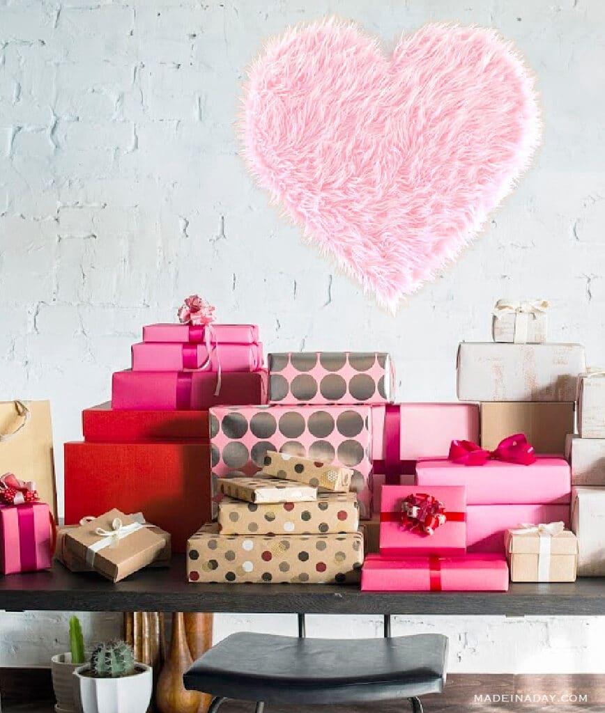 DIY pink fur heart party backdrop