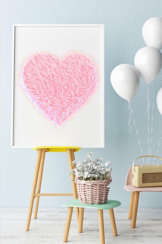 DIY Giant Pink Fur Heart Valentine Decoration