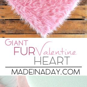 DIY Giant Pink Fur Heart Valentine 1