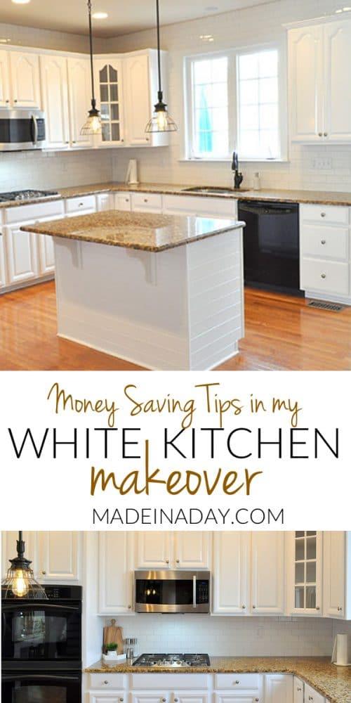 white kitchen reveal, white kitchen makeover