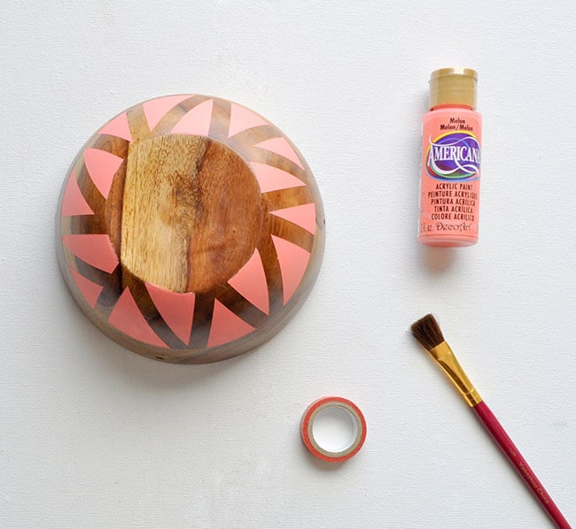 peach painted wood bowl, bowl planter