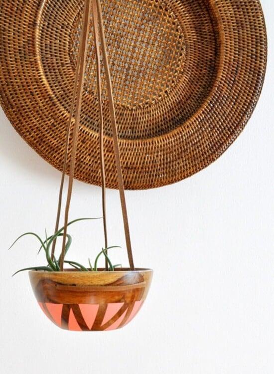 DIY Wood Leather Plant Hanger 34