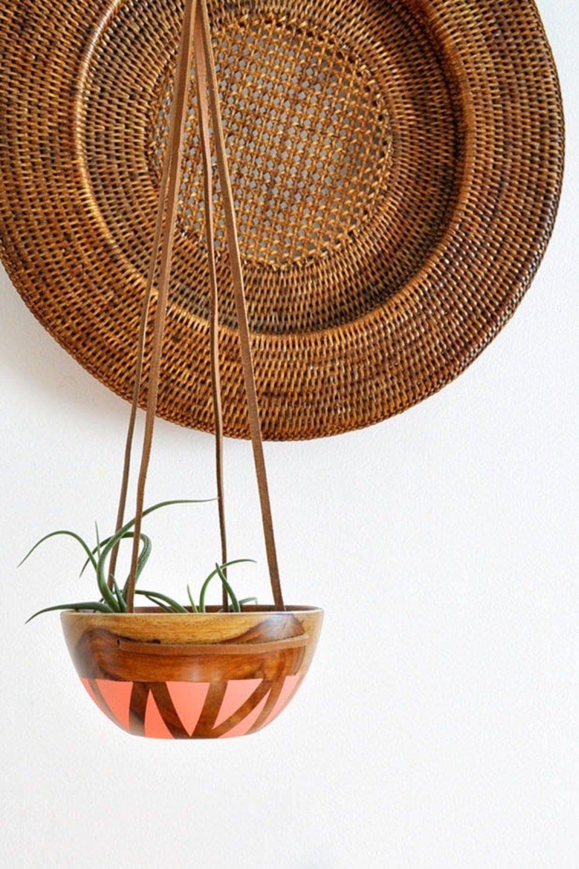 DIY Wood Leather Plant Hanger