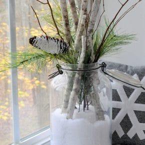 Sweet Snow Day in a Jar Birch Branch Arrangement 31