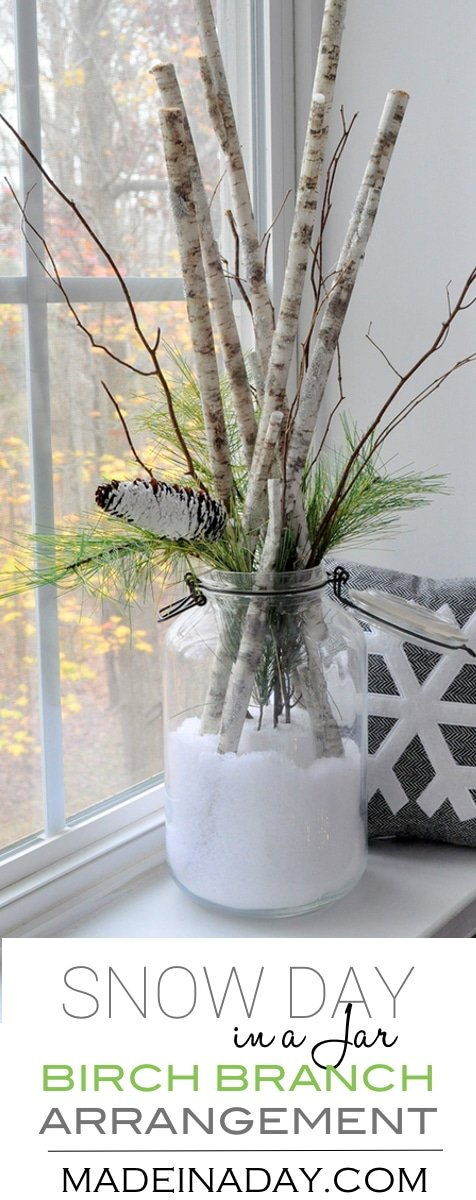 Snow Day in a Jar Birch Branch Arrangement, Buffalo snow, pine cone, pine stems, birch stems, winter floral