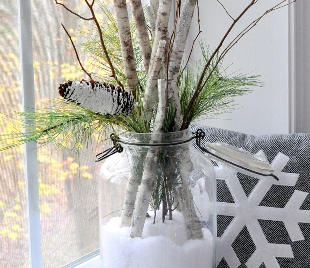Sweet Snow Day in a Jar Birch Branch Arrangement 38