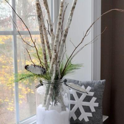 Snow Day in a Jar Birch Branch Arrangement