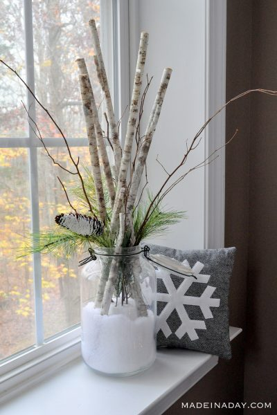 Snow Day in a Jar Birch Branch Arrangement
