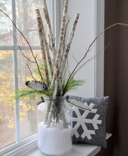 Sweet Snow Day in a Jar Birch Branch Arrangement 1