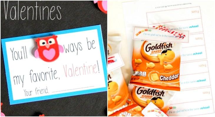 printable valentines gift tags, goldfish valentines, owl valentines