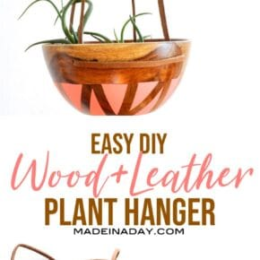 DIY Wood Leather Plant Hanger 1