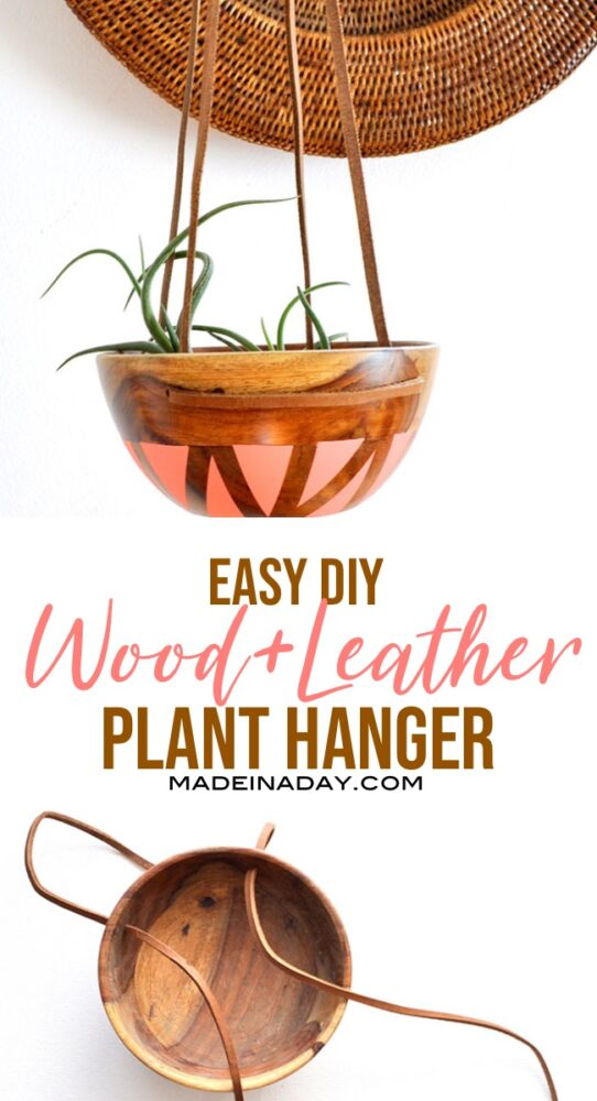 wood bowl planter, Wood bowl plant hanger