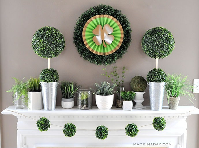 Boho Green Boxwood Mantle St Patricks Day