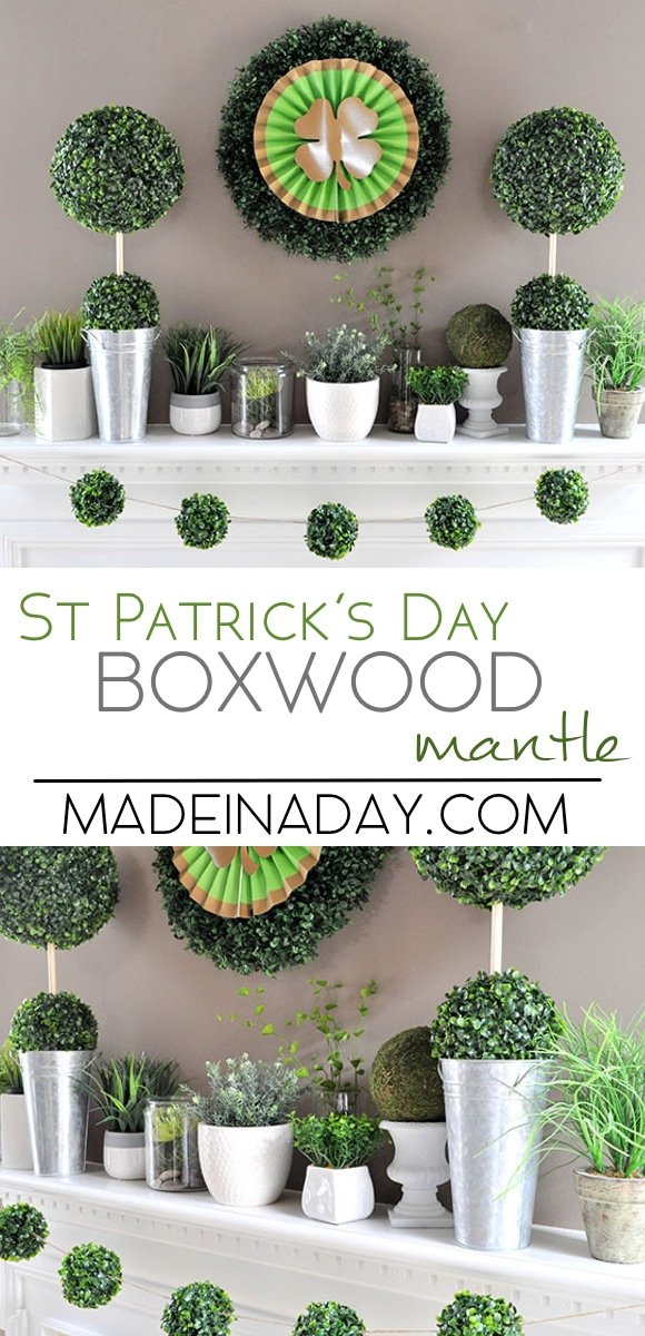 Boxwood Topiaries Garland St Patricks Day Mantle, holiday home decor for St Patricks Day, St Patty's Day mantle, Boxwood Ball Topiary and garland. Bohemian green plants collection on mantle #ad