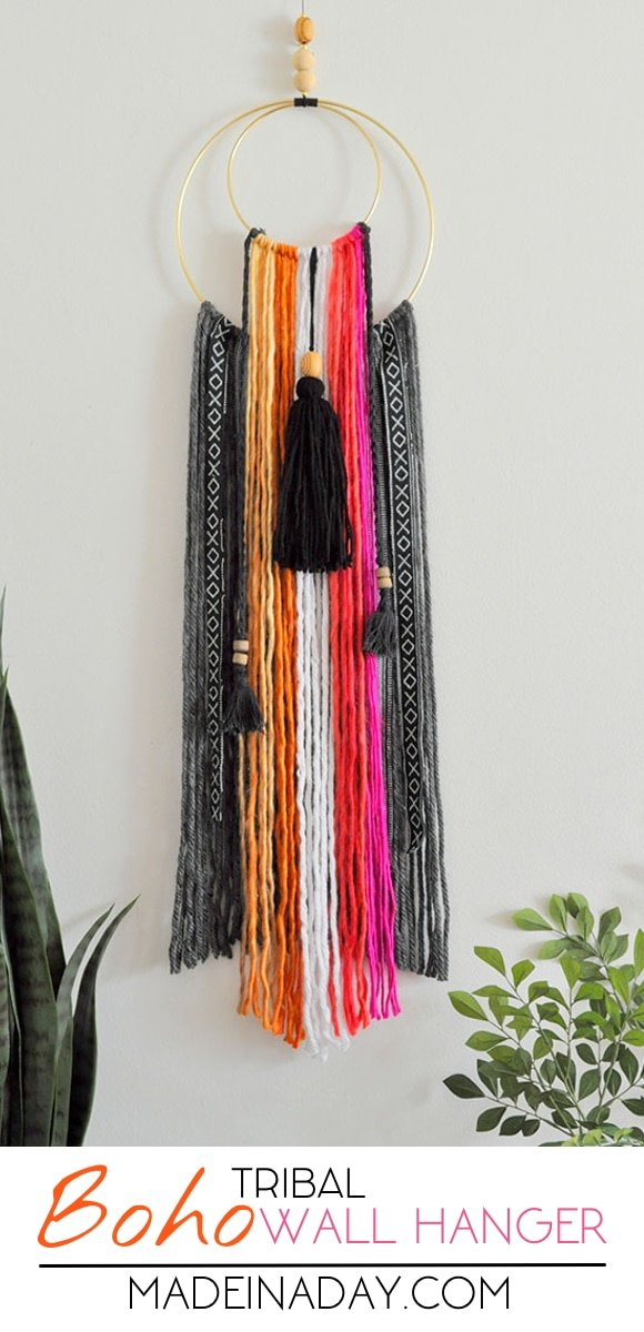 Easy tutorial to make a DIY Colorful Baja Boho Fringe Wall Hanging, #Bohemian home decor, Baja Hoodie fabric, crescent moon wall art, yarn wall art, macrame #wallart #tribal #boh #bohemian #color #pink #parka #tassel #fringe #diyhomedecor #diy