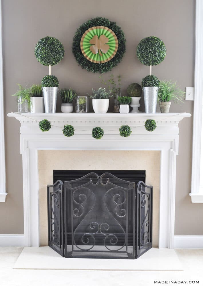 Boxwood Green Plant mantle, St Pattys day mantle