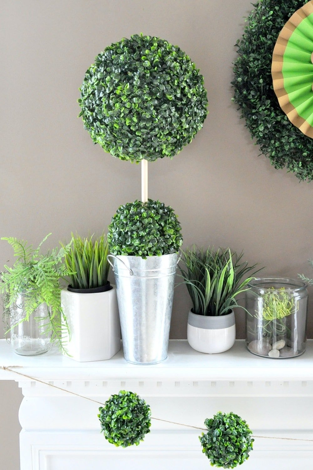 DIY Boxwood Topiary for St Patricks Day Mantle