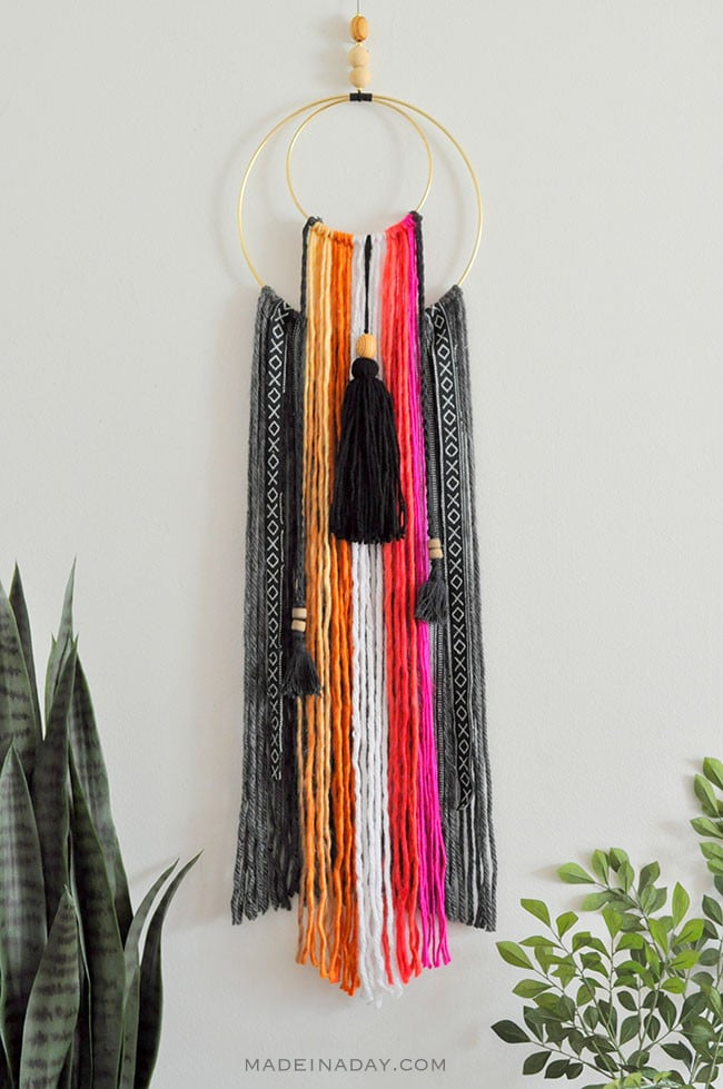 Easy tutorial to make a DIY Colorful Baja Boho Fringe Wall Hanging, #Bohemian home decor, Baja Hoodie fabric, crescent moon wall art, yarn wall art, macrame #wallart #tribal
