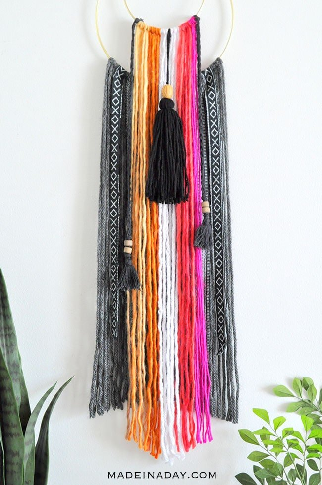 Colorful Baja Boho Fringe Wall Hanging 14