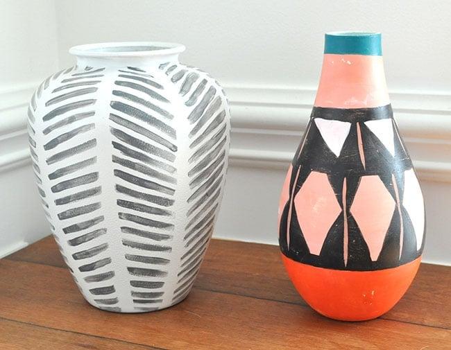 DIY tribal painted vases