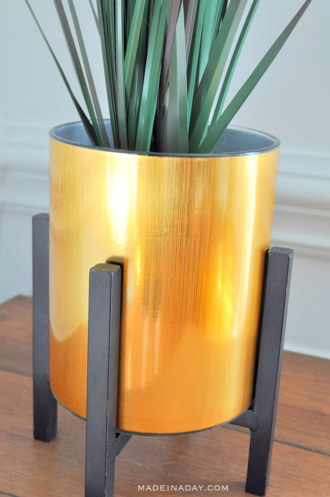 gold planter hack, contact paper gold planter