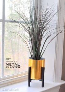 Faux Gold Metal Planter 1