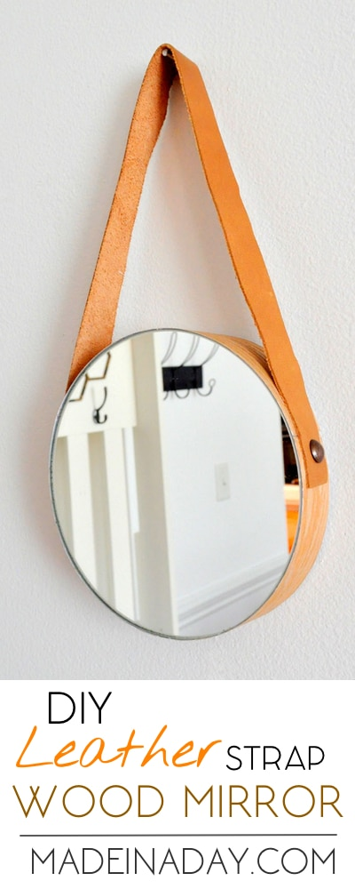 DIY Wood Leather Strap Mirror, Easy way to make a trendy strap mirror without breaking the bank, nautical mirror, wood veneer sheets, foam mirror mount,
