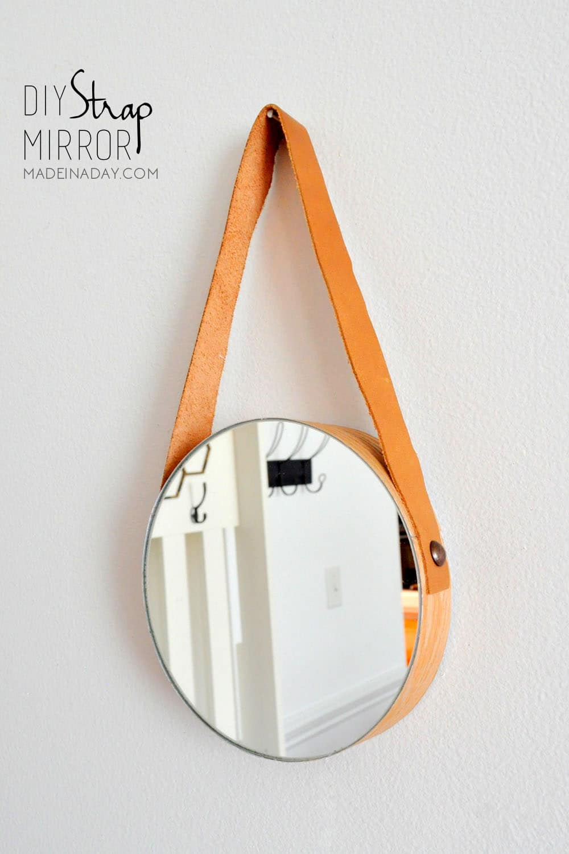 DIY Wood Leather Strap Mirror 2