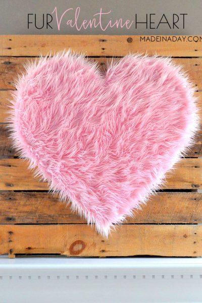 DIY Giant Pink Fur Heart Valentine