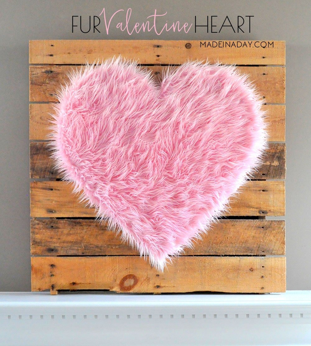 Valentine Heart + Faux Fur Topiaries Mantle Decor 13