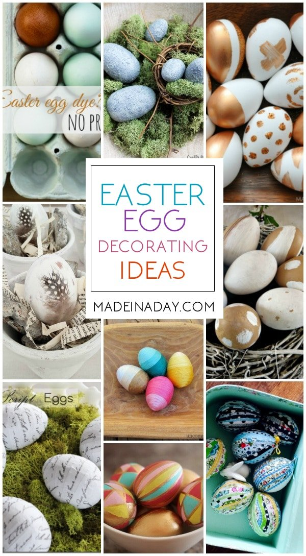 Easter Egg Decorating Ideas for Home Decor, lots of different techniques to decorate with eggs for Easter, painted eggs, decoupage, feathers, fabric, book page, cement, rustic and more!