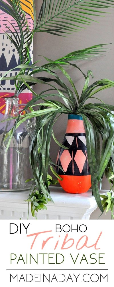 Native American tribal painted vase makeover, pink, black, orange vase, Painted Tribal Vases, Boho vases, paint Native American pattern on a vase, Bohemian vases, easy DIY home decor, pink tribal vase #tribalpattern #Boho #tribal