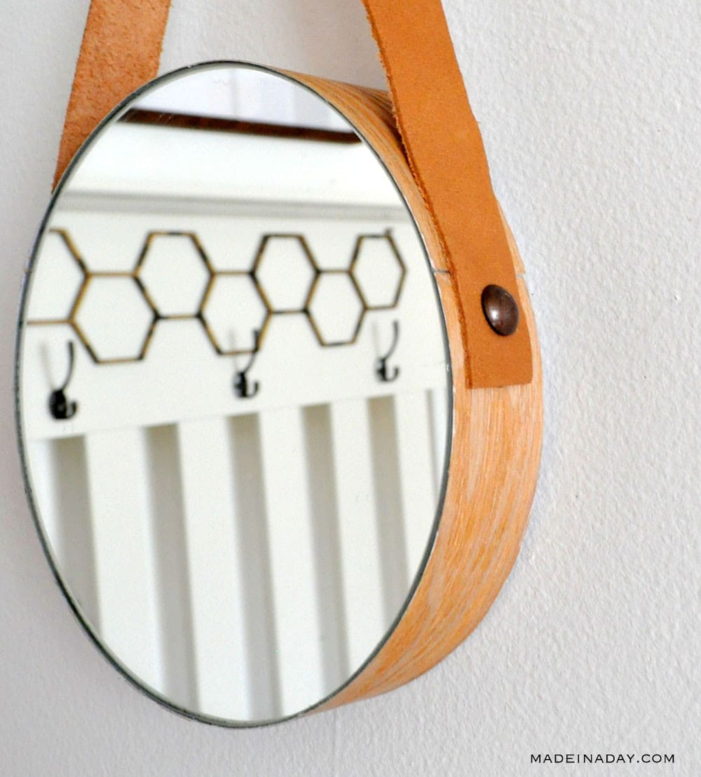DIY Wood Leather Strap Mirror 8