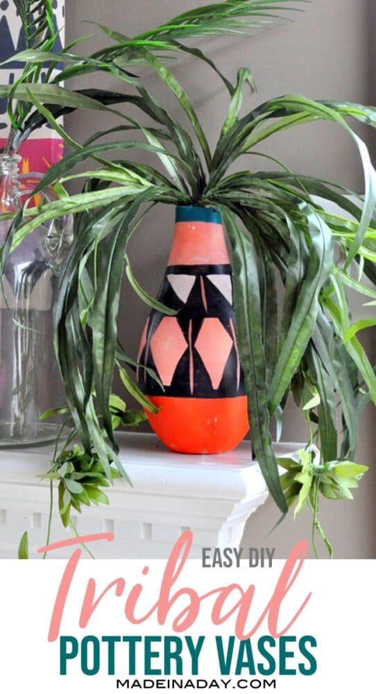 melon patterned tribal vase, diy tribal patterned vase